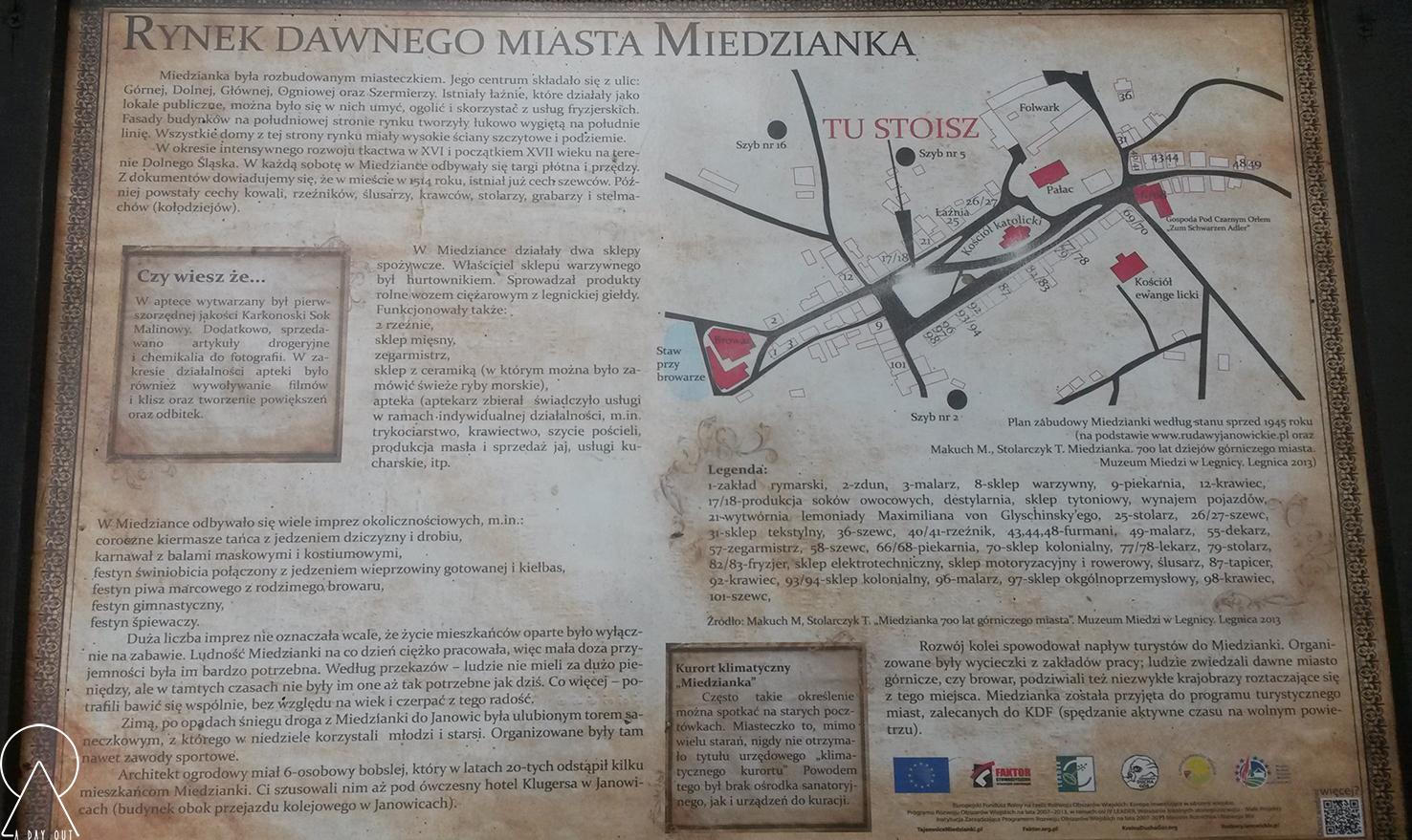 Miedzianka - tablica zeszlaku Miedzianka - Mniszków - 900 lat historii
